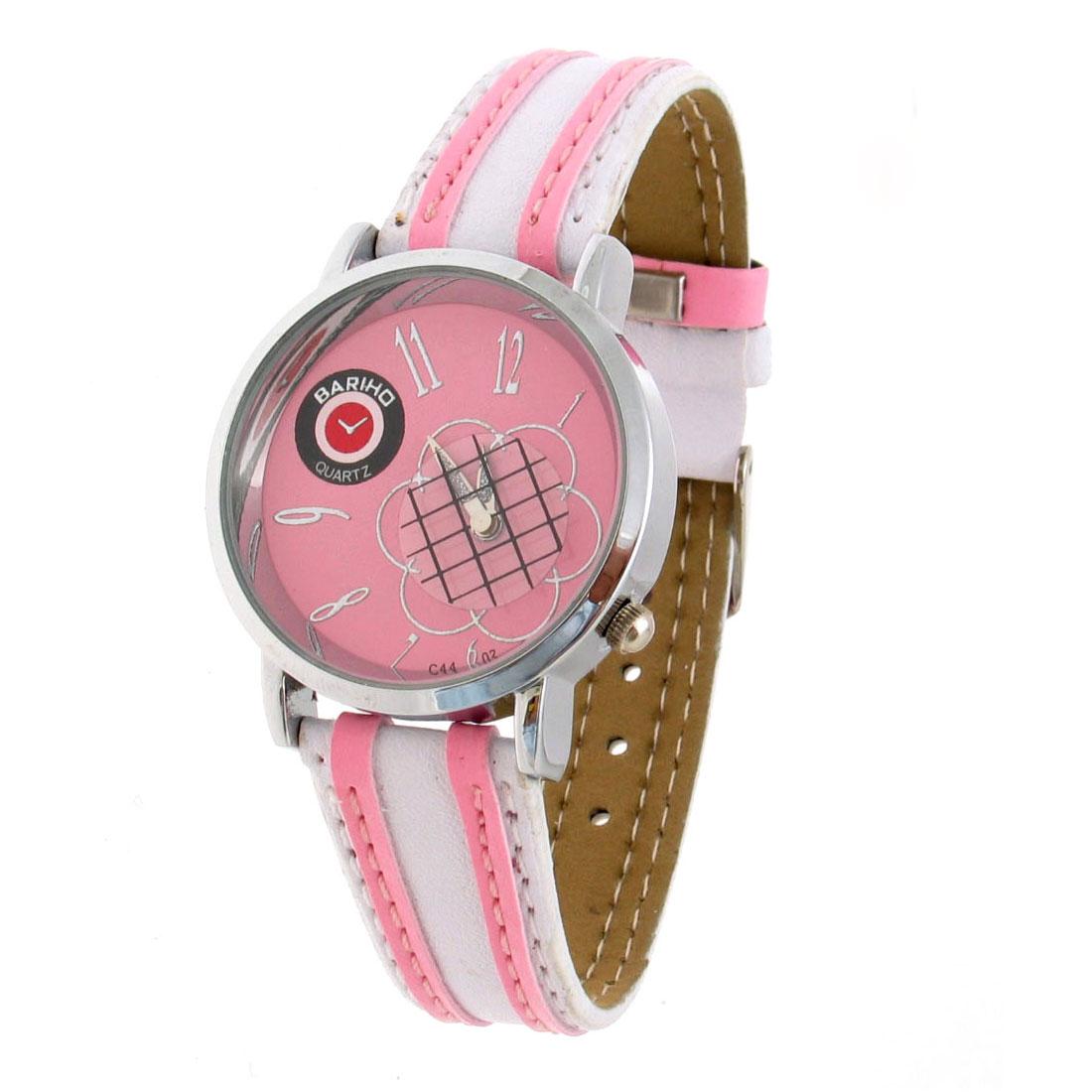 Fashion Jewelry Slim Faux Pink & White Leather Quartz Watch Wrist Watch