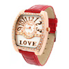 Fashion Red Faux Leather Quartz Wristwatch w/ Crystal Beads