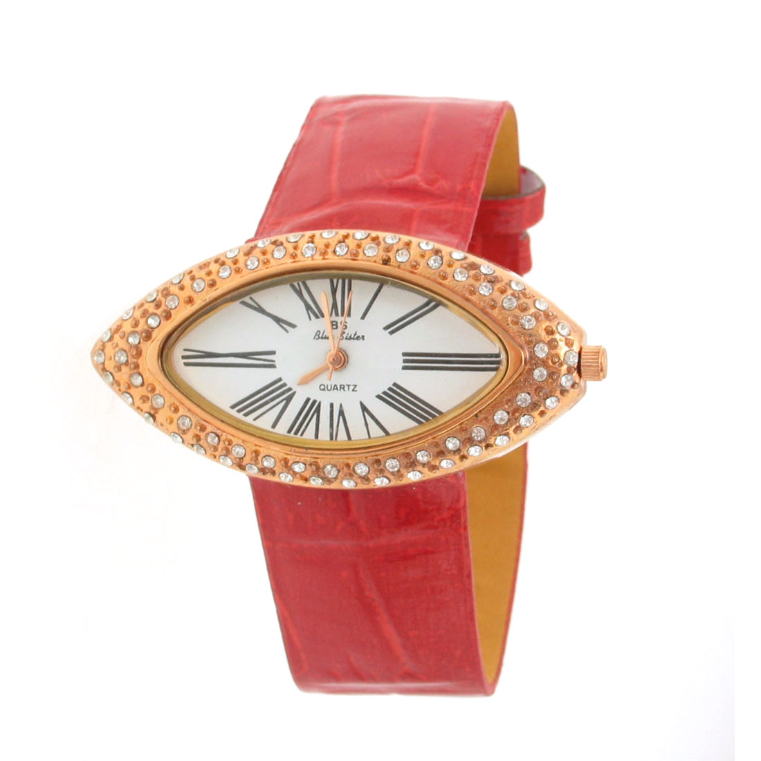 Fashion Jewelry Faux Red Leather Oval Watchcase Quartz Watch