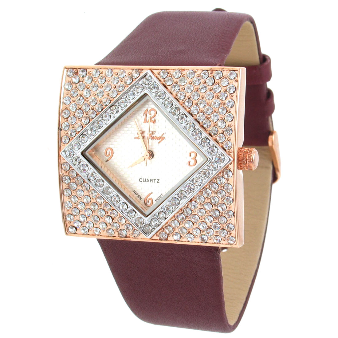 Fashion Jewelry Brown Band Simulated Crystal Style Beads Quartz Wrist Watch