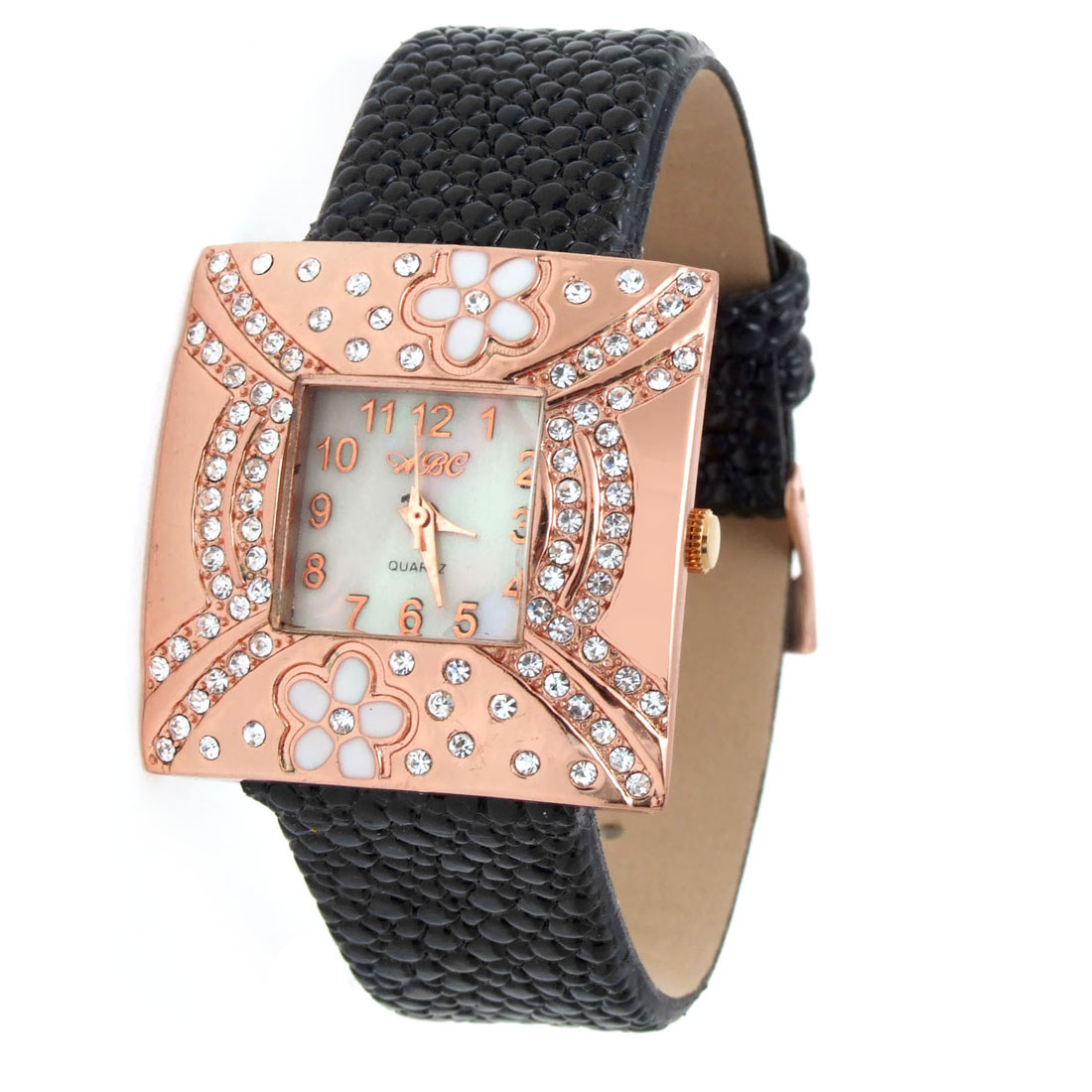 Fashion Jewelry Black Faux Leather Strap Wrist Quartz Watch