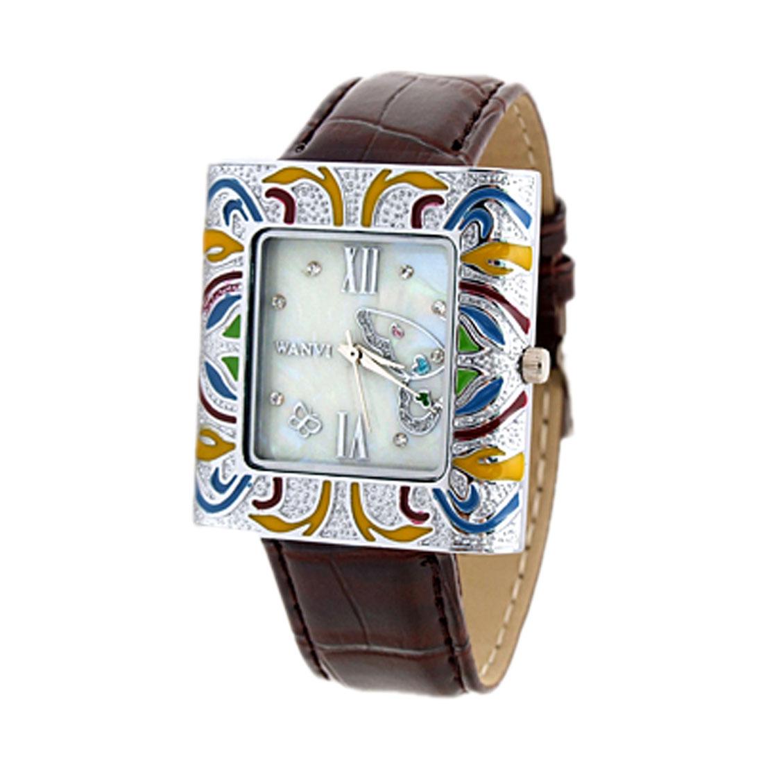 Ladies' Brown Leather Man-made Cloisonne Art Quartz Wrist Watch