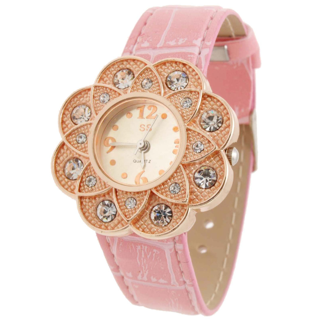 Pink Fashion Jewelry Stylish Ladis Sunflower Wrist Leather Watches