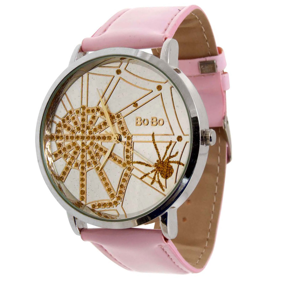 Fashion Pink Spider Web Cobweb Quartz Wrist Time Watch