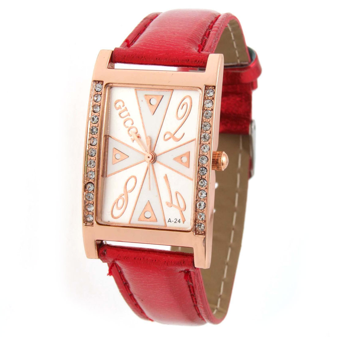 Fashion Jewelry Red Faux Leather Wrist Quartz Watch - Inactive