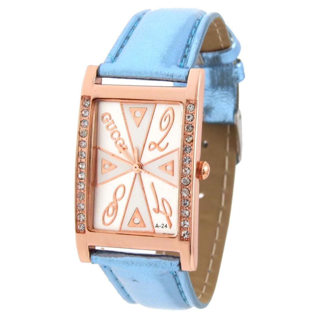 Fashion Jewelry Blue Faux Leather Wrist Quartz Watch - Inactive