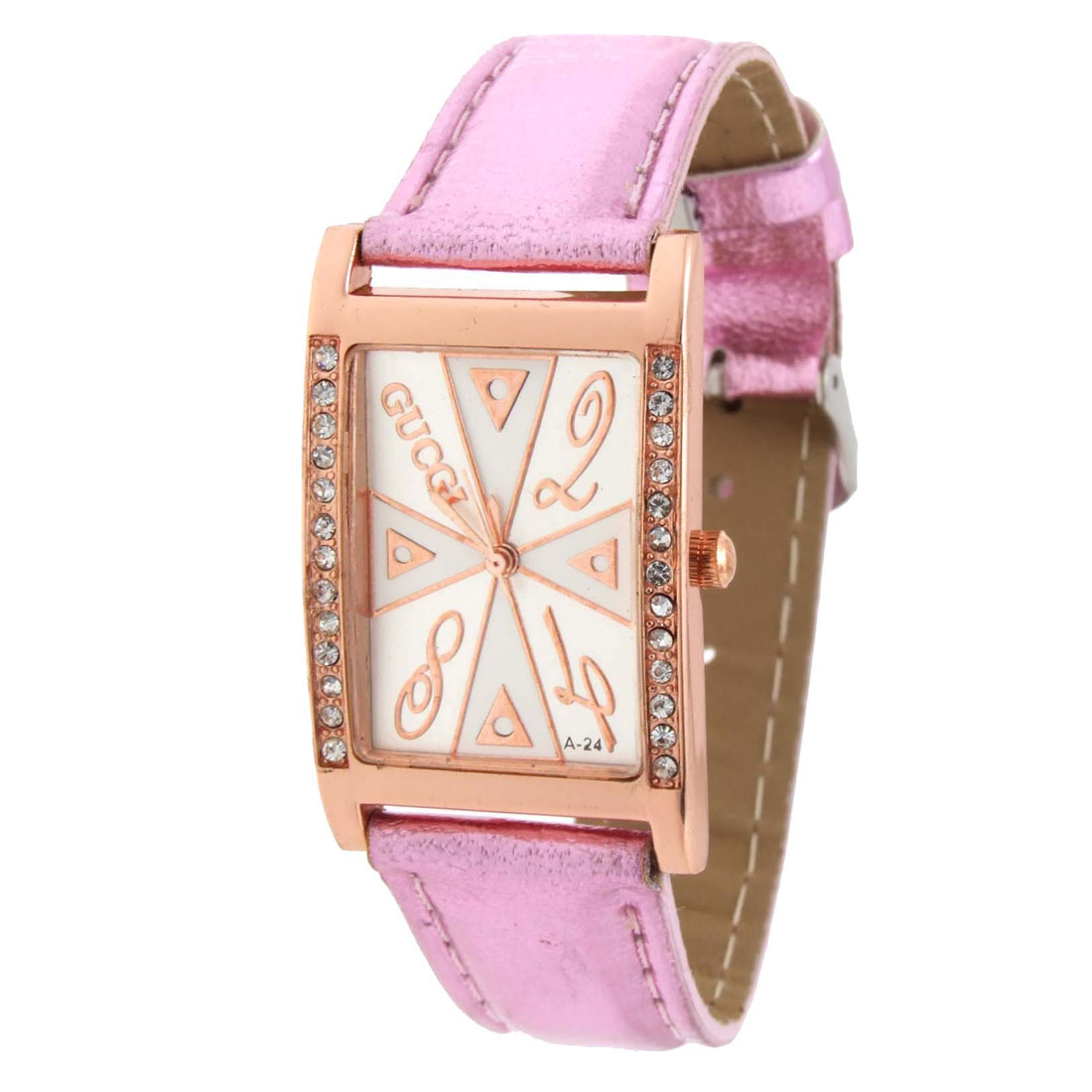 Fashion Jewelry Pink Faux Leather Wrist Quartz Watch - Inactive