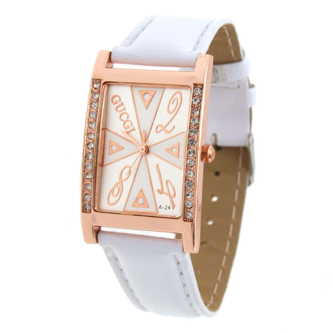 Fashion Jewelry White Faux Leather Wrist Quartz Watch - Inactive
