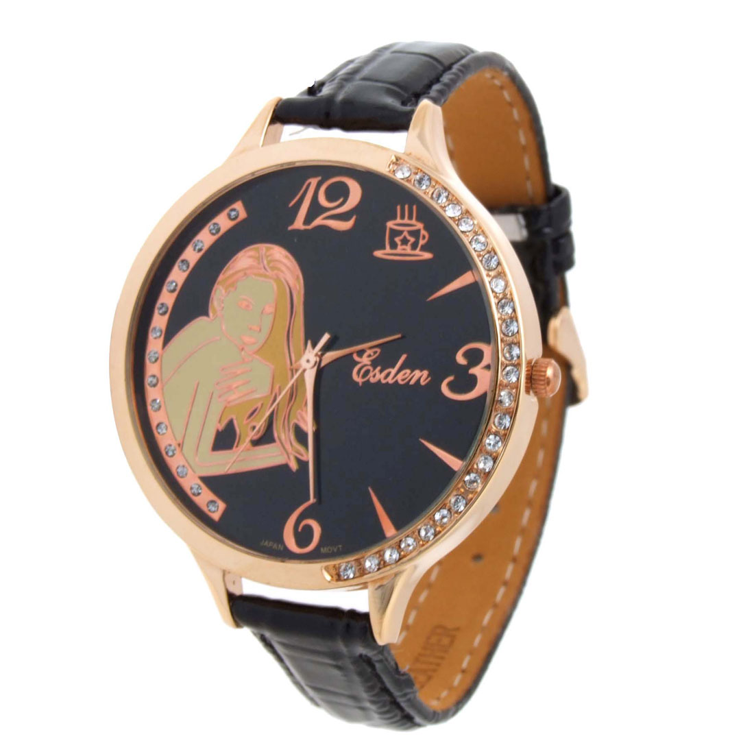 Fashion Jewelry Naked Woman Black Wrist Quartz Watch