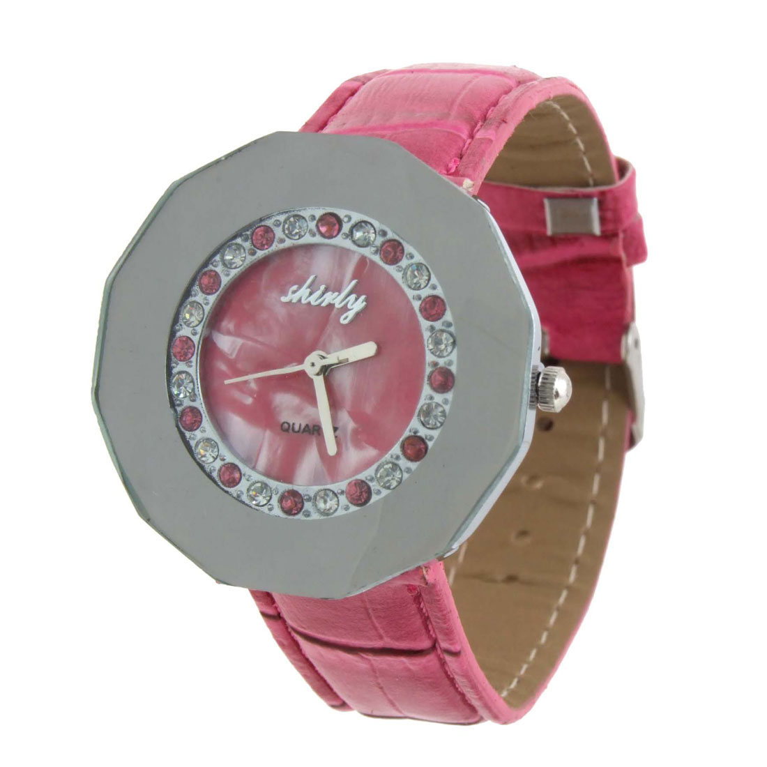 Fashion Jewelry Polygon Pink Faux Leather Quartz Watch