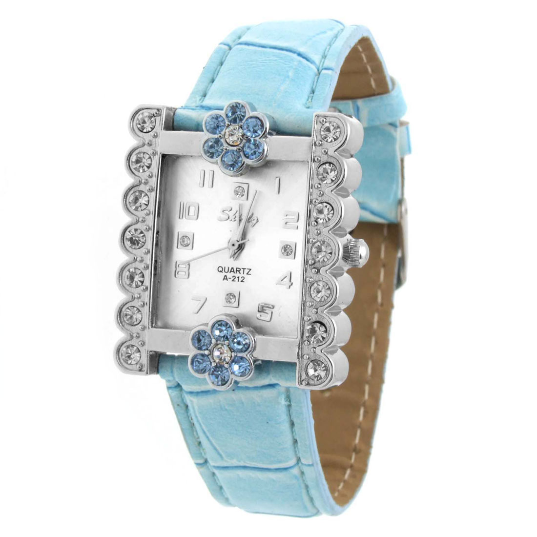 Flower Crystal Wrist Quartz Watch with Skyblue Faux Leather Band