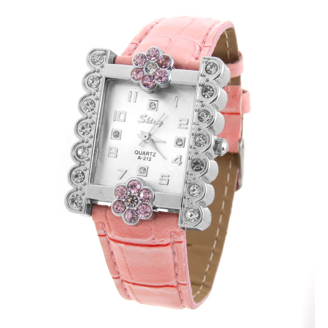 Pink Faux Leather Flower Crystal Wrist Quartz Watch for Lady