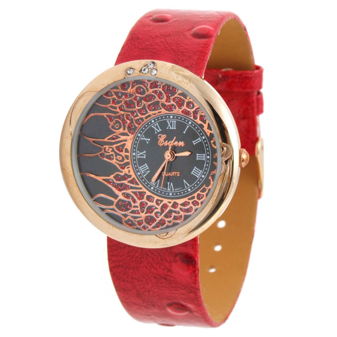 Fashion Jewelry Blazing Red Faux Leather Wrist Quartz Watch