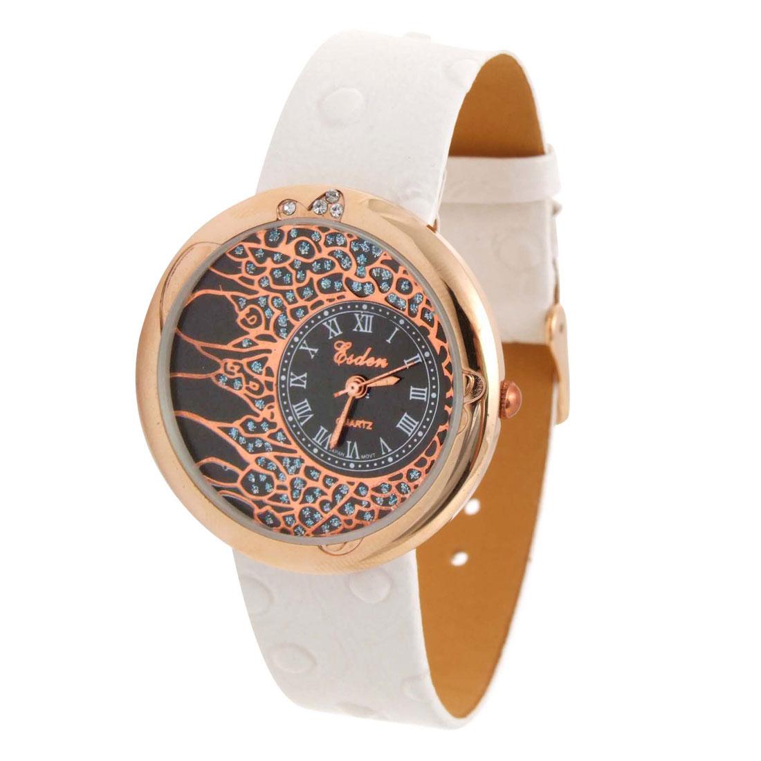 Fashion Jewelry Blaze White Faux Leather Wrist Quartz Watch
