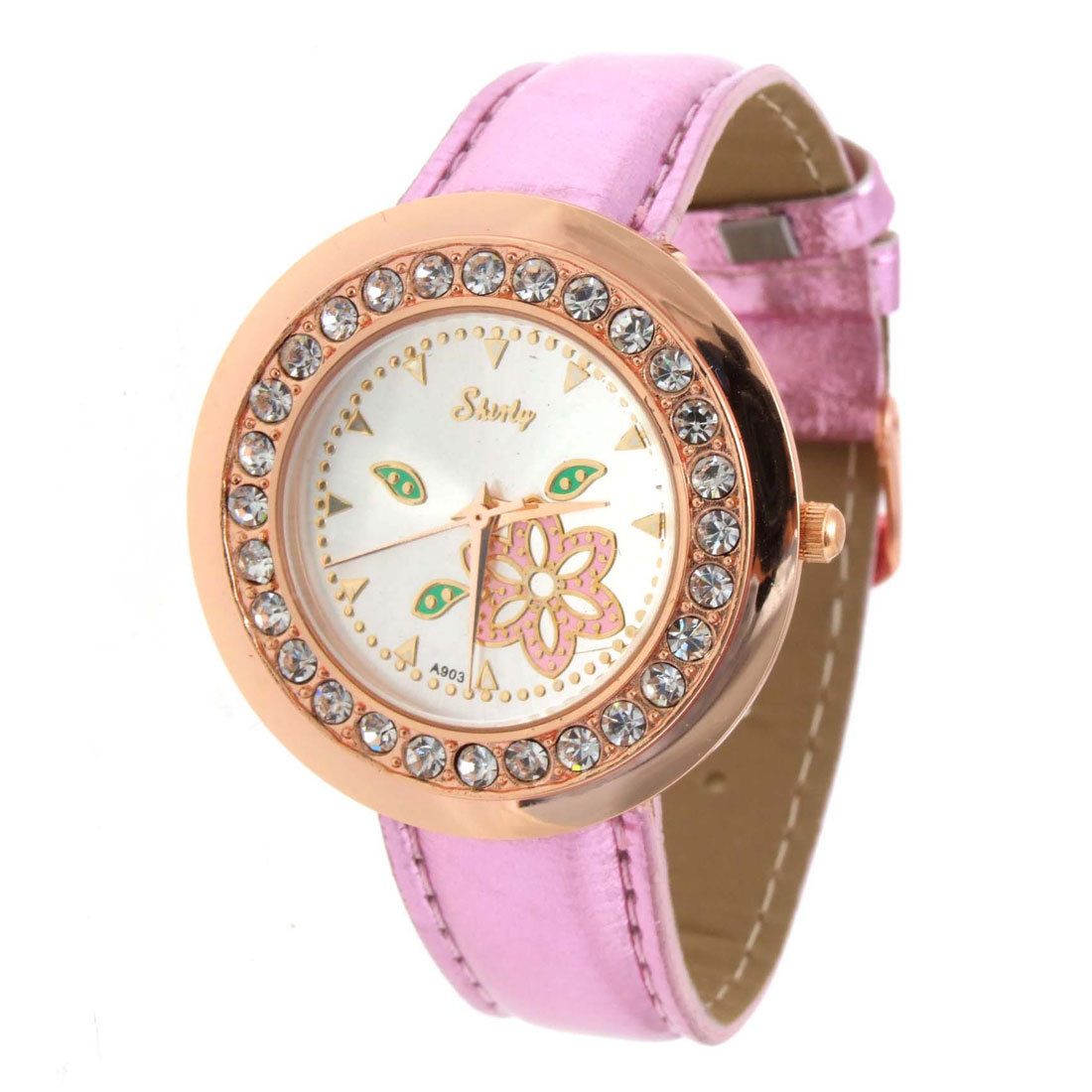Elegant Flower Pink Faux Leather Wrist Quartz Watch