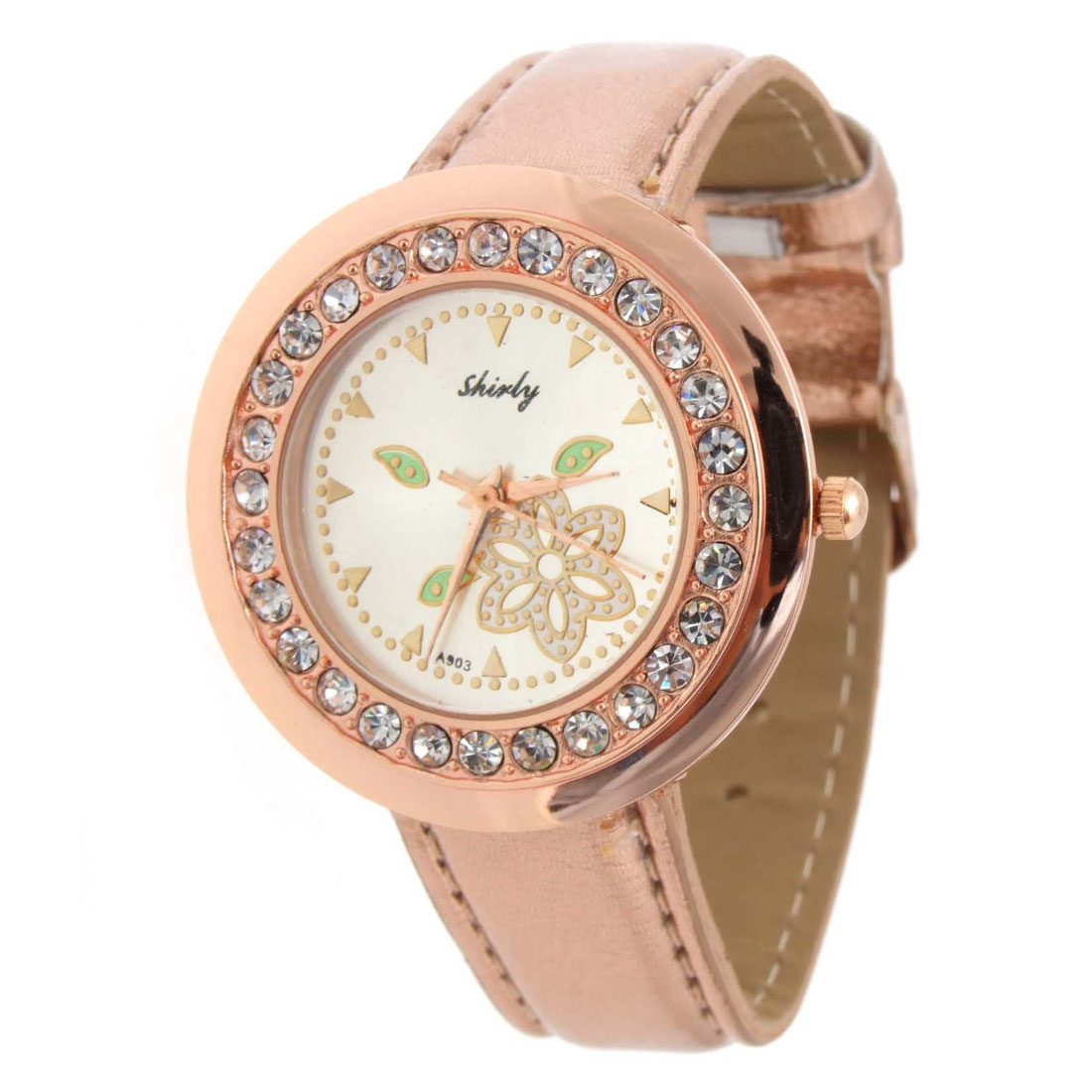 Elegant Flower Golden Faux Leather Wrist Quartz Watch