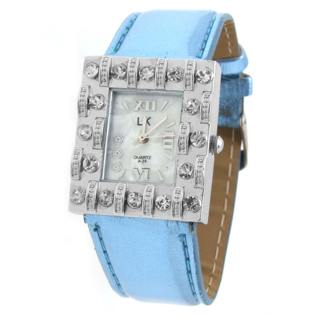 Lofty Classical Blue Faux Leather Wrist Quartz Watch