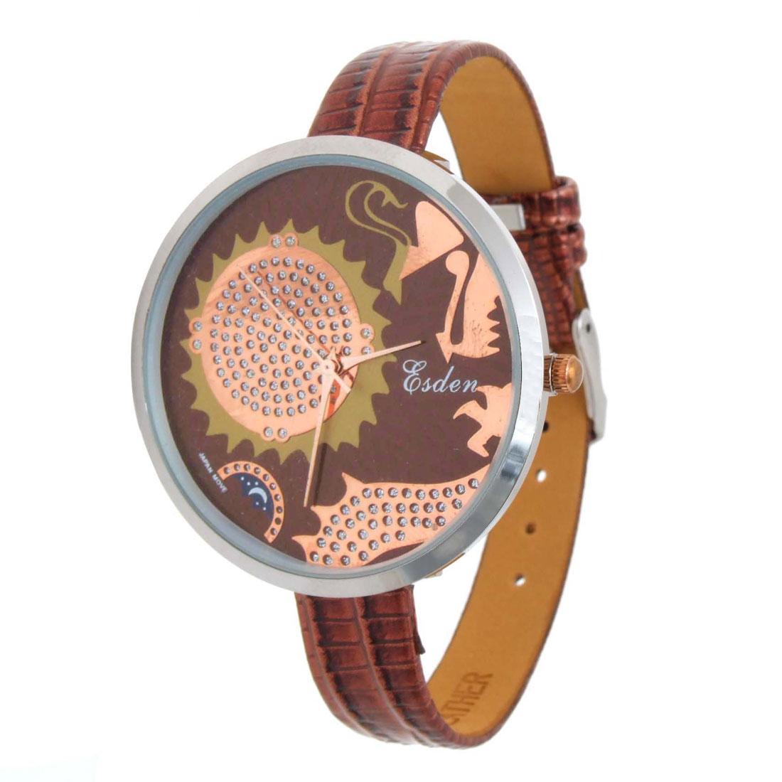 Unique Spirit Brown Faux Leather Wrist Quartz Watch