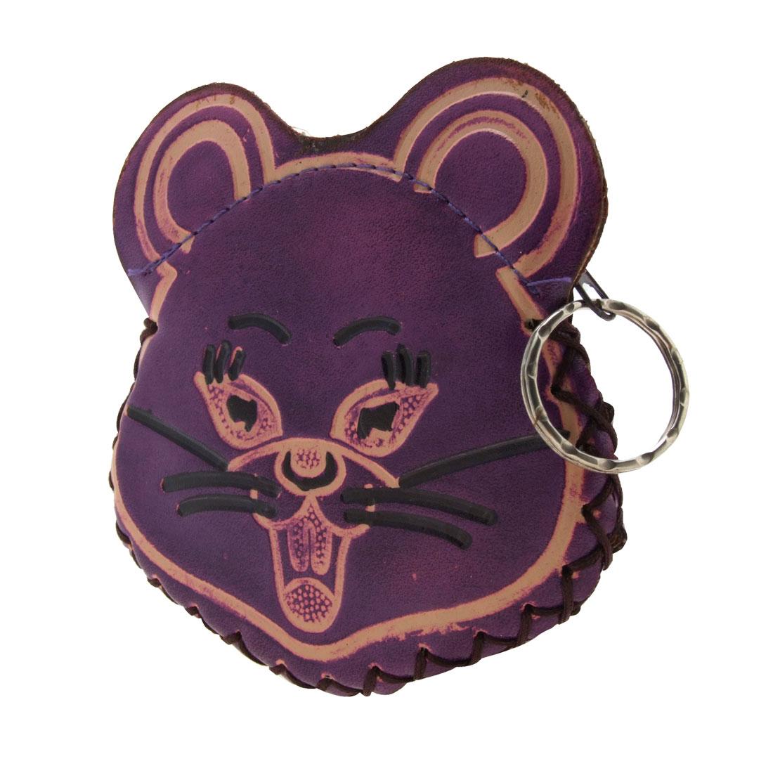 Fashion Mouse Head Lady Purse Pocket Money Wallet Zipper Bag w. Key Ring