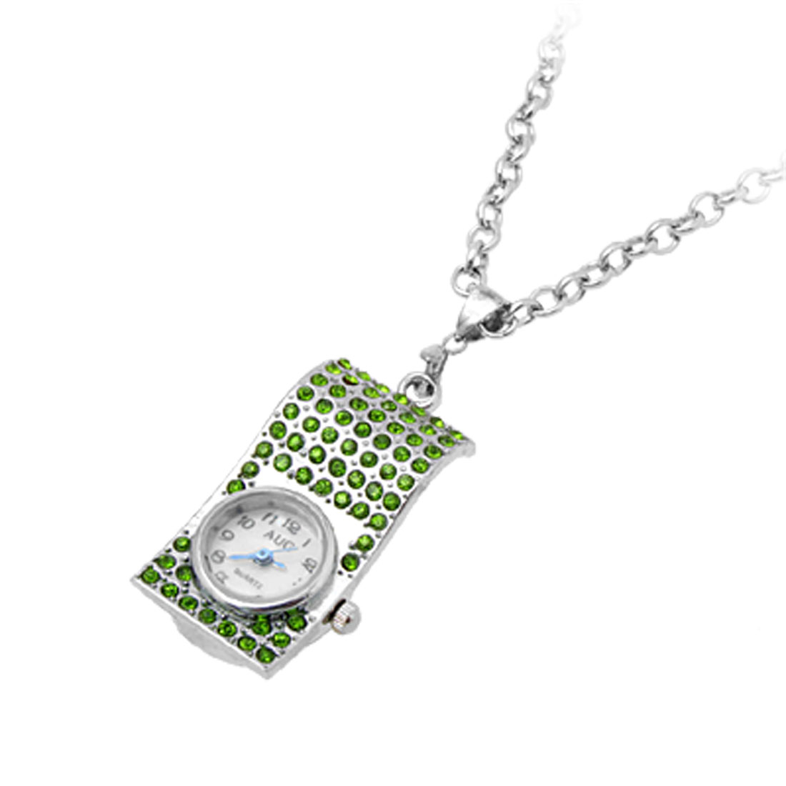 Jewelry Necklace Skate Crystal Pendant Quartz Watch Green
