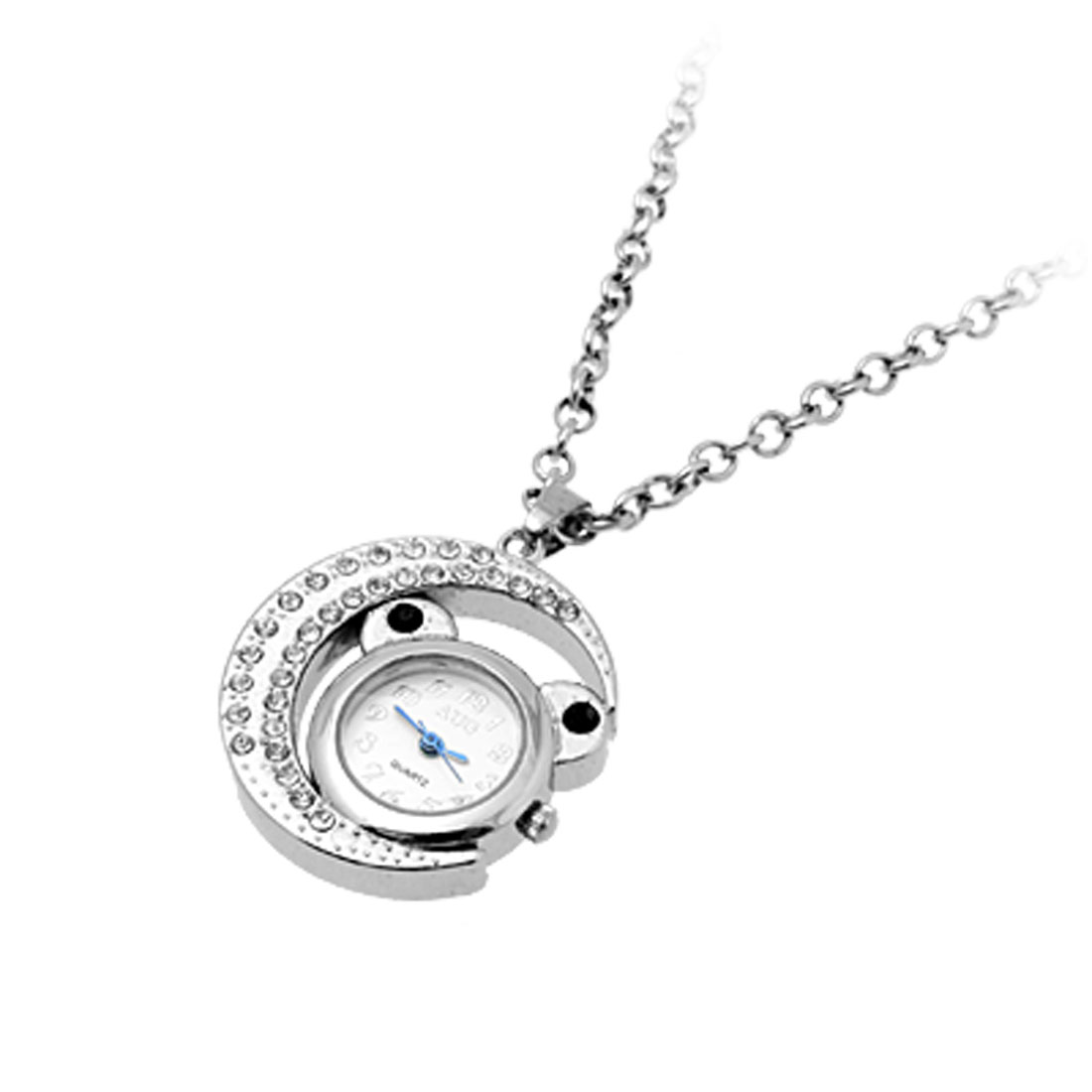 Simulated Crystal Fairy Cat Moon Pendant Necklace with Quartz Watch