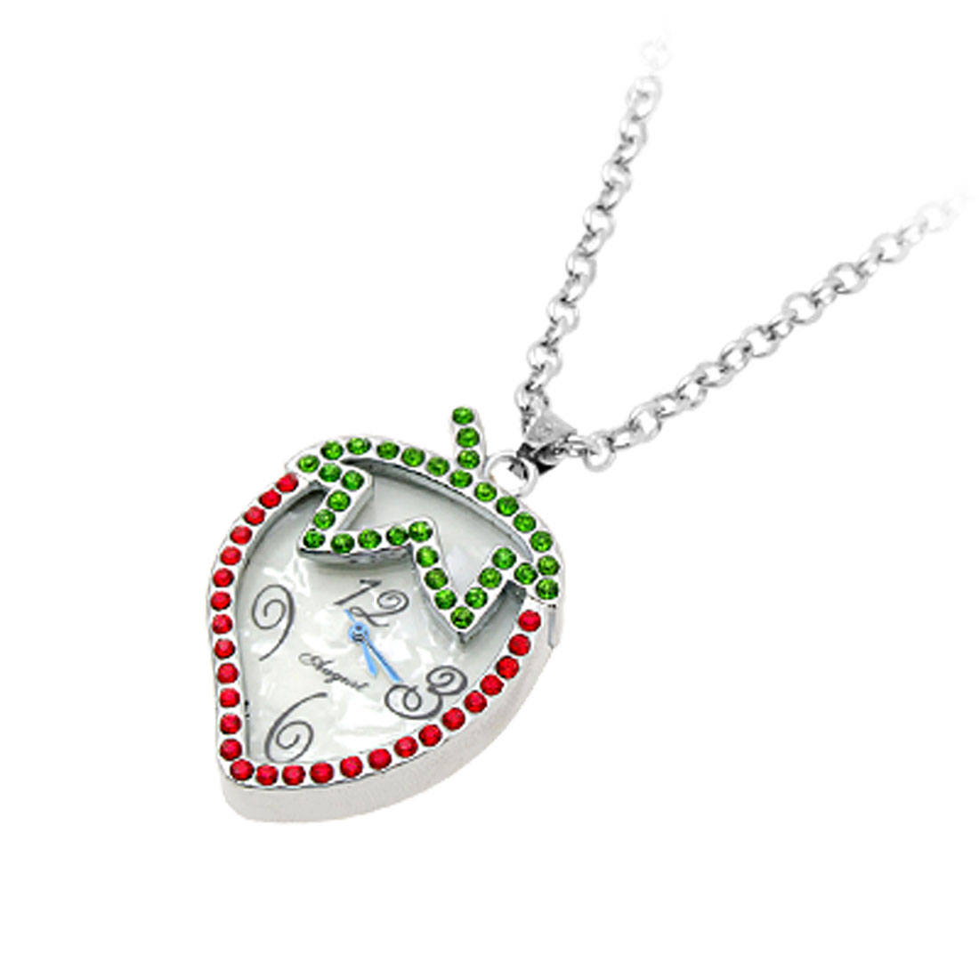 Novel Jewelry Necklace Strawberry Crystal Pendant Quartz Watches Red