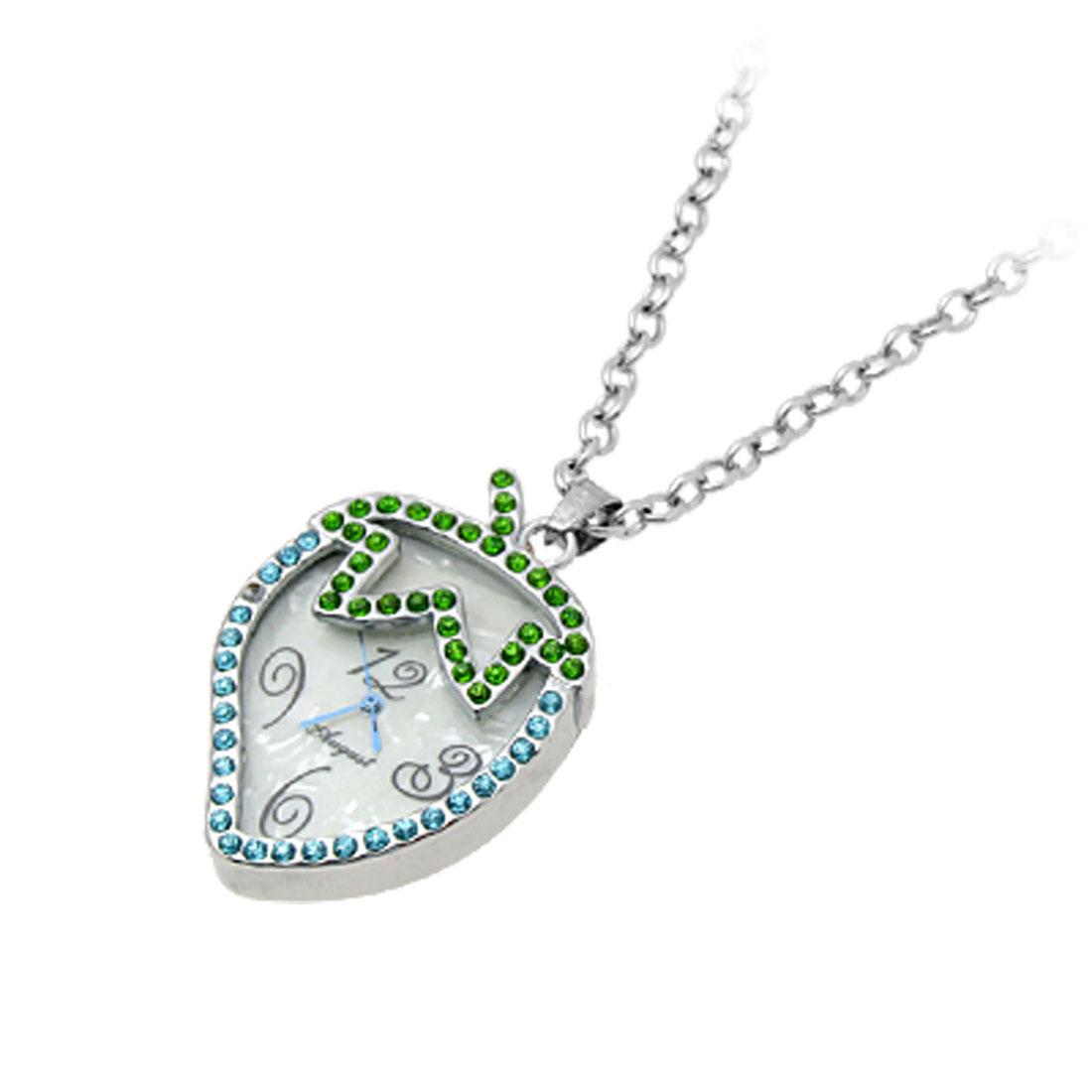 Jewelry Unique Necklace Strawberry Crystal Pendant Quartz Watch Blue
