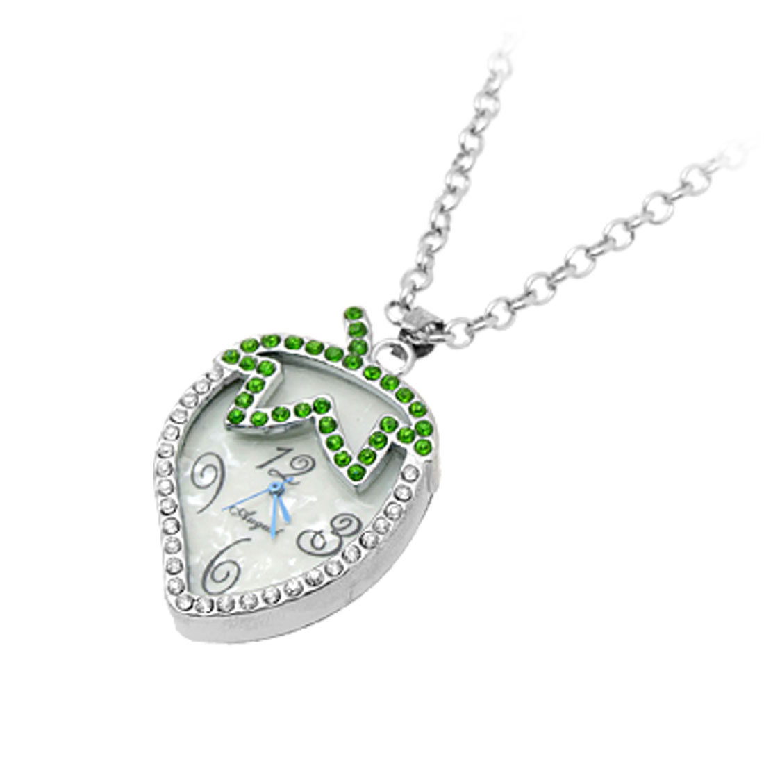 Jewelry Unique Necklace Strawberry Crystal Pendant Quartz Watch Silver