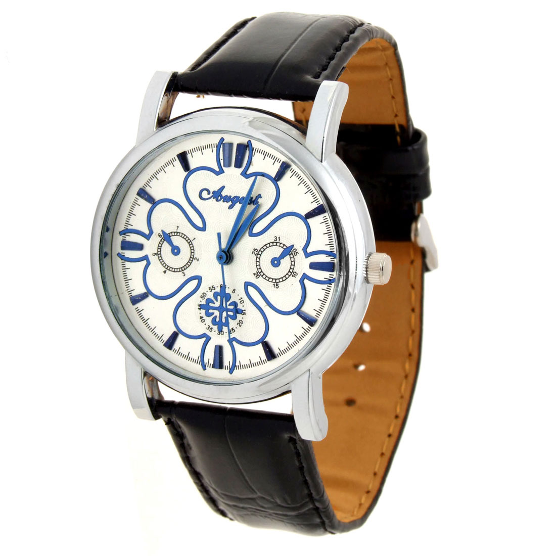 Jewelry Black Faux Leather Leaves Silvery Dial Quartz Watch
