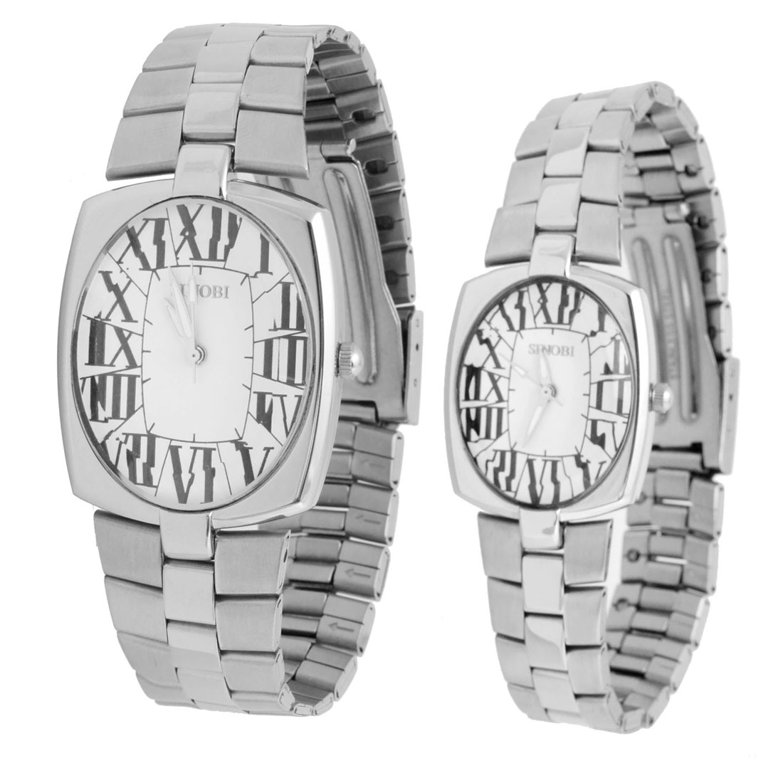 Fashion Jewelry One Pair of Silver Watches for Man's & Ladies Fere Wristwatch