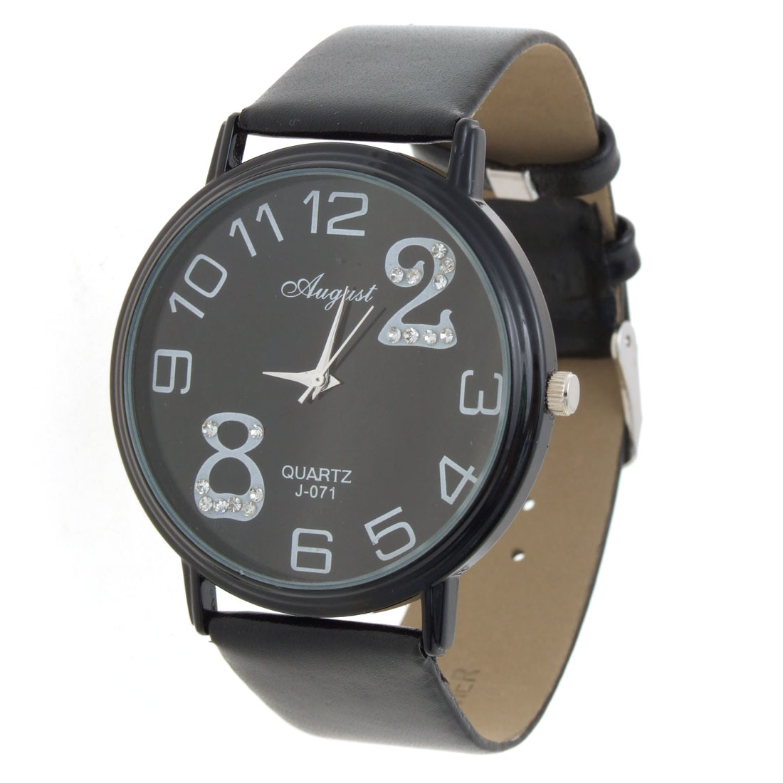 Jewelry Black Faux Leather Round Quartz Arabic numerals Wristwatch