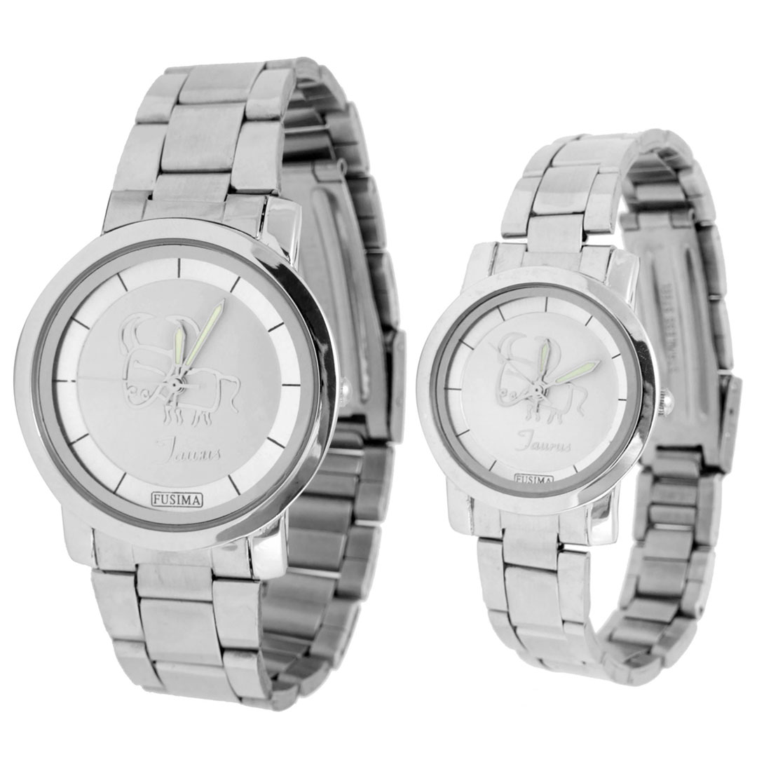 Fashion Jewelry One Pair of Watches for Man's Lady's Fere Wristwatch Silver Tone