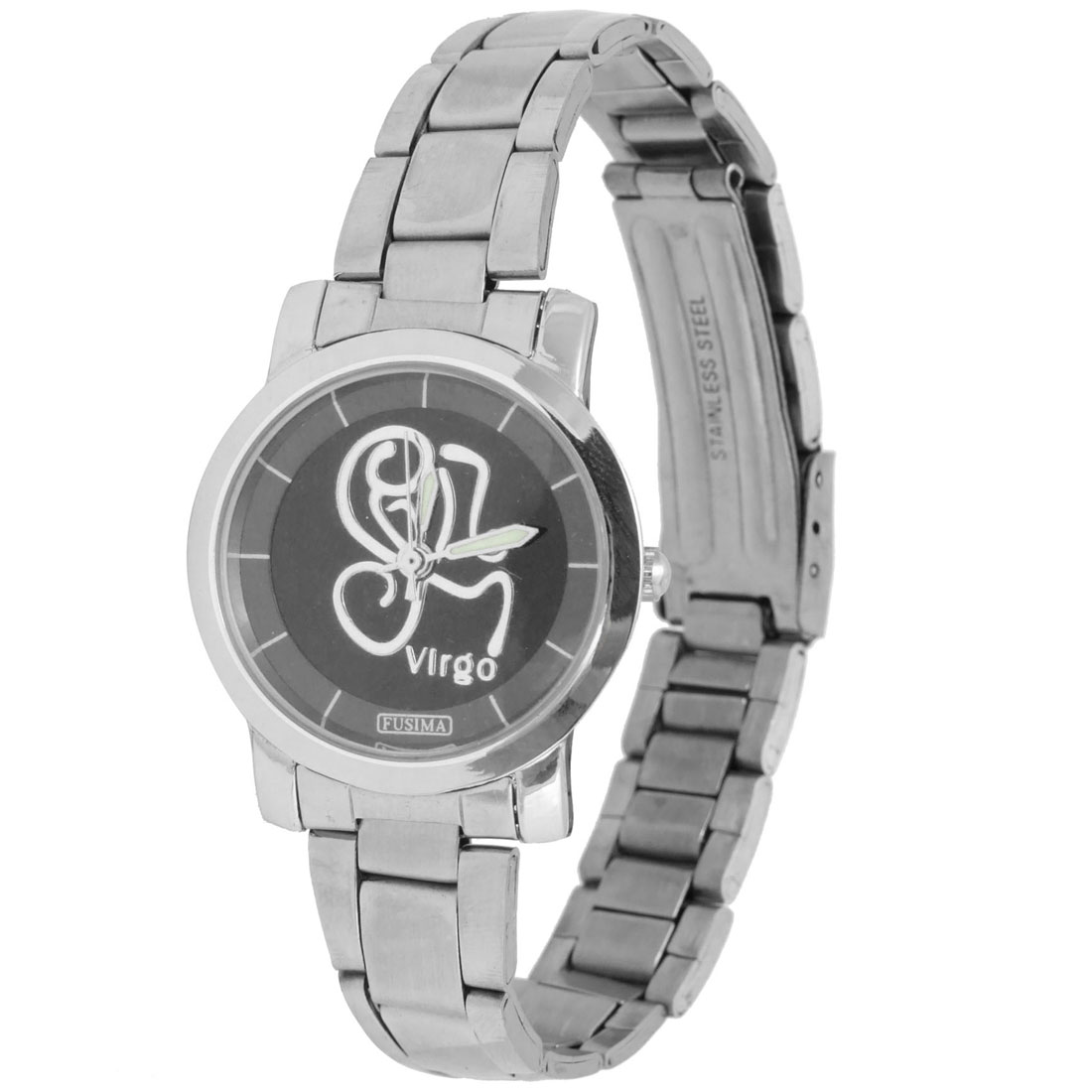 Fashion Jewelry Stainless Steel Quartz Wristwatch with Black Dial