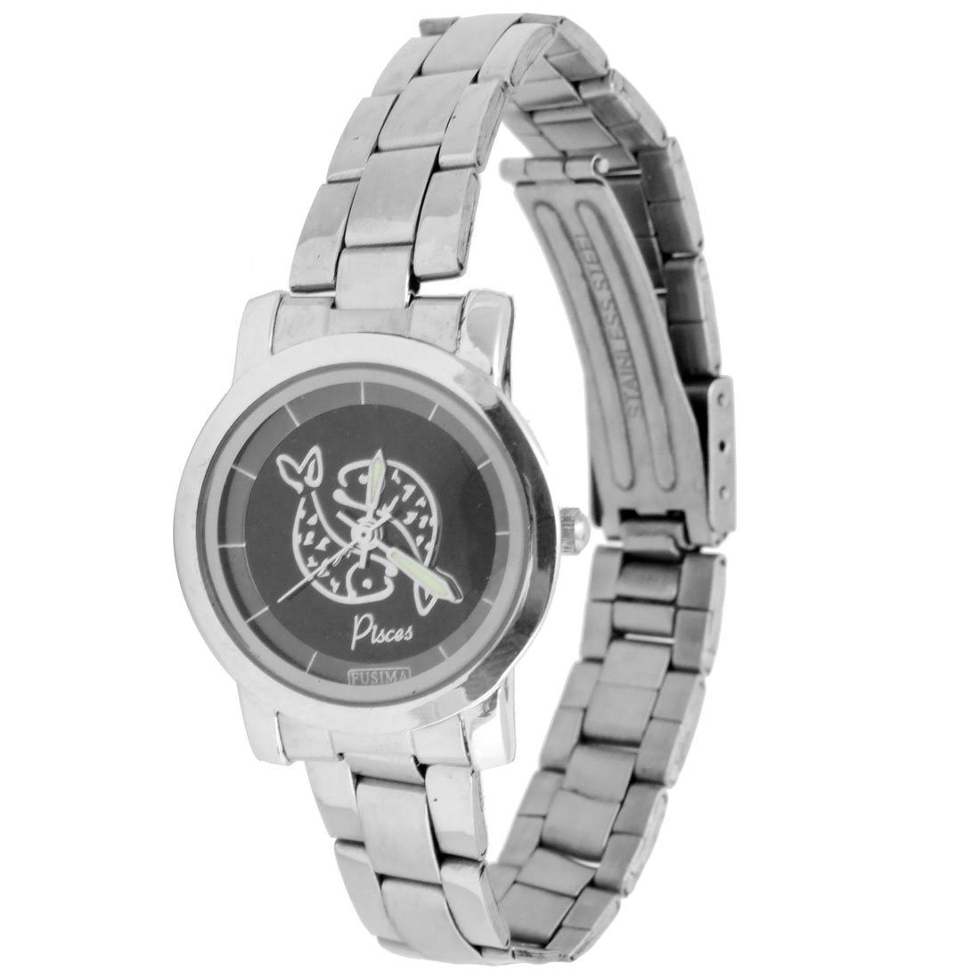 Attractive Stainless Steel Band with Black Dial Quartz Wristwatch
