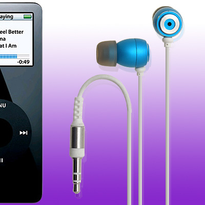 In Ear Blue 3.5mm Audio Earphones Headphones for Mobile Phone MP4 MP3 Player