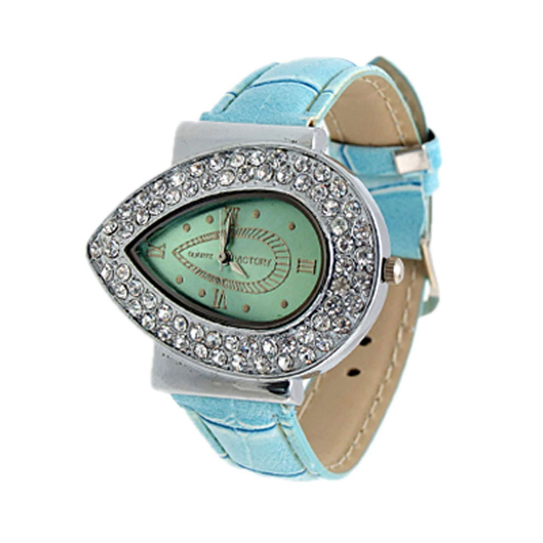 Exquisite Jewelry Water Dripping Blue Leather Quartz Watches Lady Wristwatches