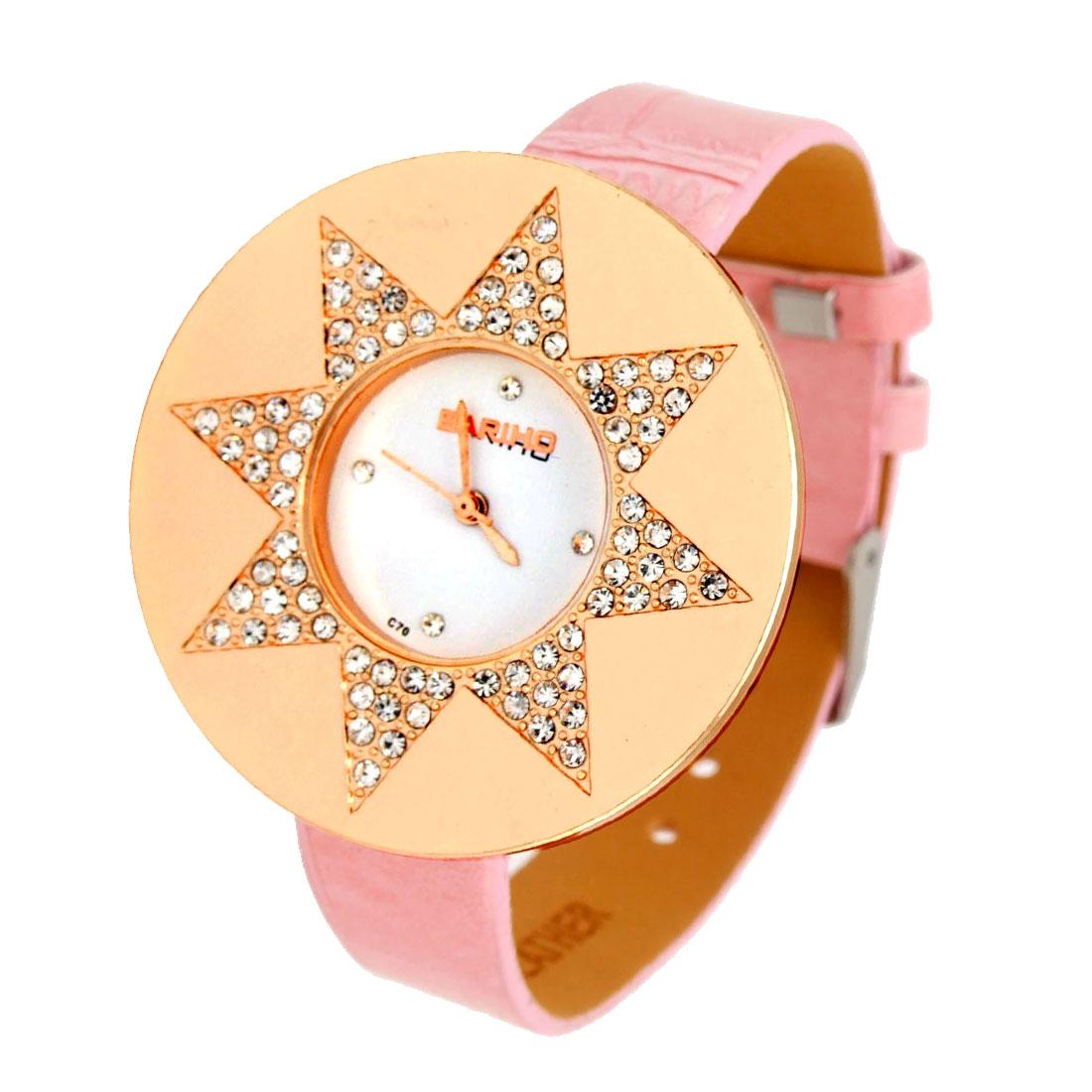 Fashion Jewelry Crystal Style Star Pink Leather Lady Quartz Wristwatch