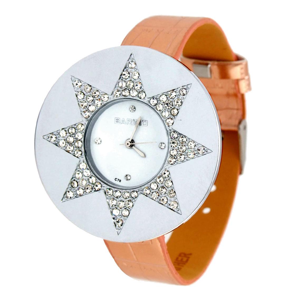Fashion Jewelry Crystal Style Star Rose GOLDENen Leather Lady Quartz Wristwatch