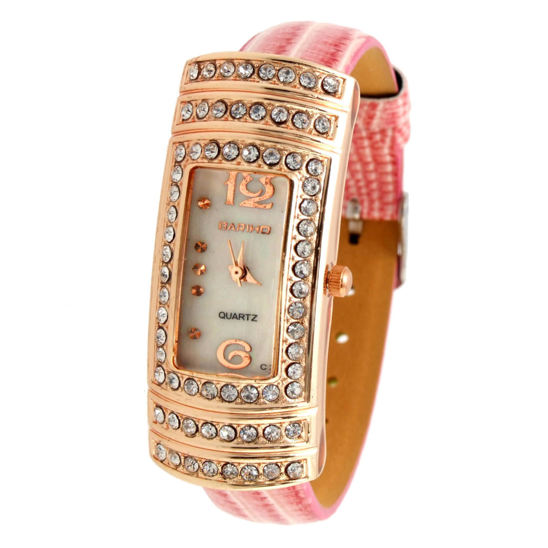 Exquisite Jewelry Candy Pink Leather Lady Quartz Wristwatches