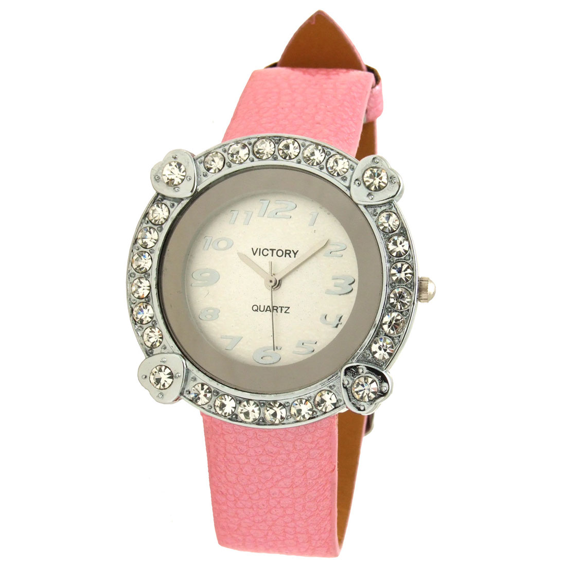 Exquisite Jewelry Victory Pink Leather Lady Quartz Wristwatches