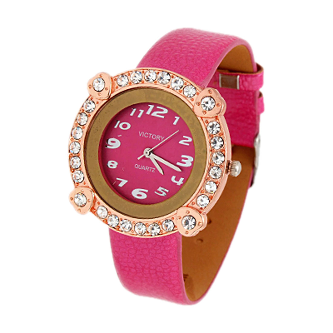 Exquisite Jewelry Victory Rose Color Leather Lady Quartz Wristwatches