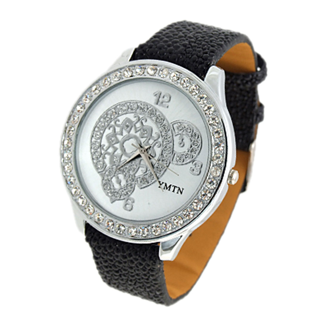 Exquisite Jewelry Simulated Crystal Beads Inlay Quartz Wristwatches - Black Strap