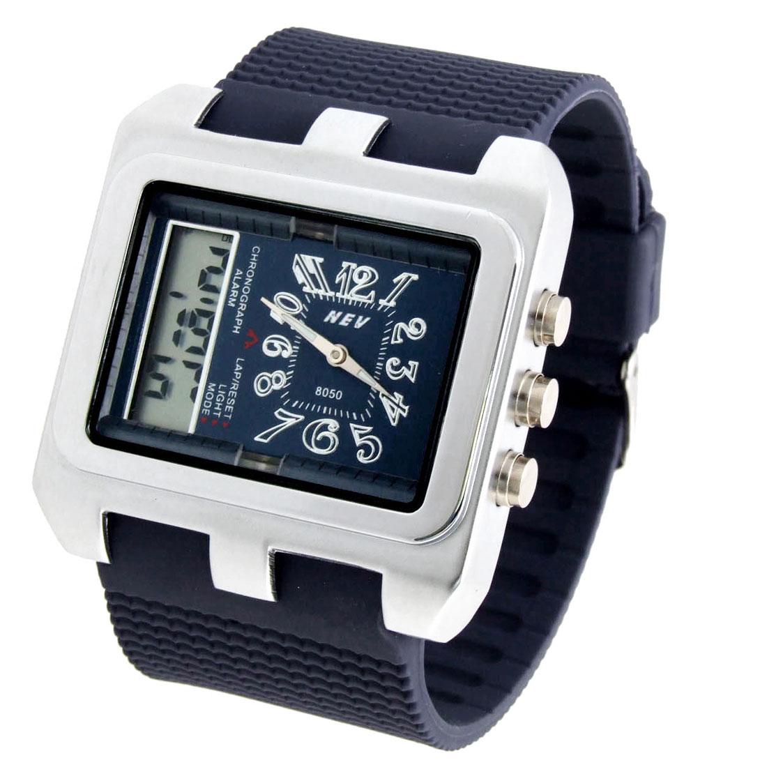 Jewelry 2 in 1 Digital & Quartz Multifunction Sports Wristwatch Blue