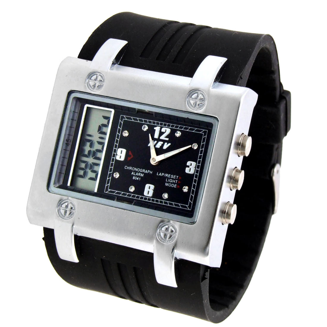 Fashion Black Band with Cube Case 2 in 1 Multifunction Sports Wristwatch