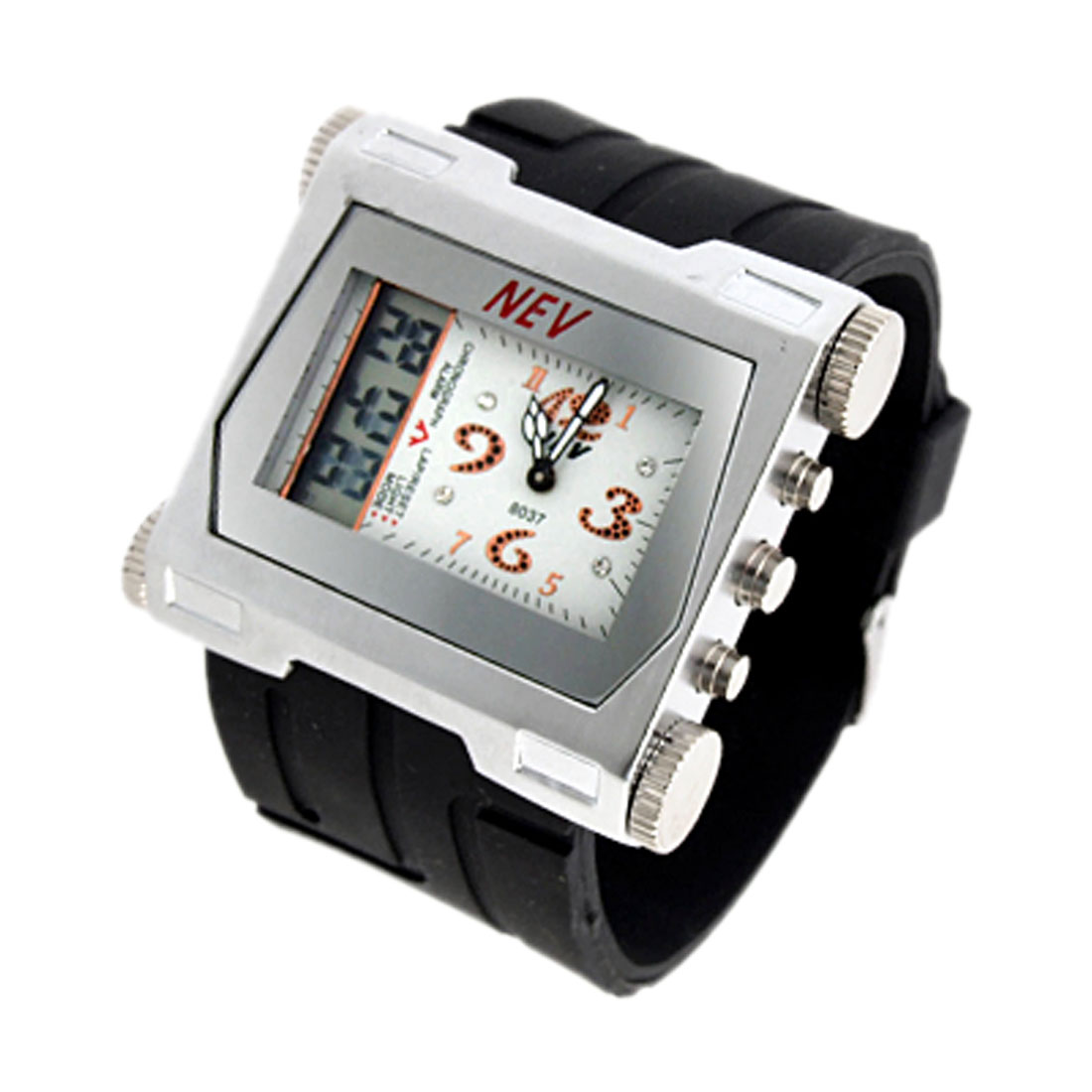 Unique Cube Case 2 in 1 Digital and Quartz Sports Wristwatch with Black Band
