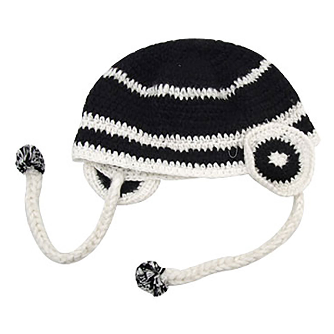 Lady Winter Knitted Hat Cap Beanie Ski Hat Black White