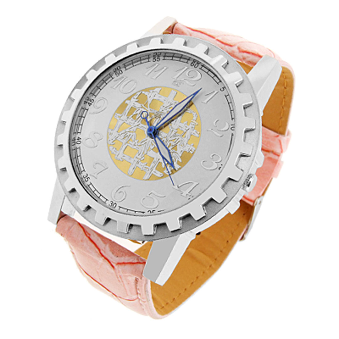 Jewelry UXcell Electrum Night Vision Faux Leather Men's Quartz Watch Pink