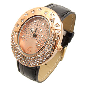 Fashion Jewelry Golden Egg Watchcase Ladies Quartz Wrist Fashion Watches Black