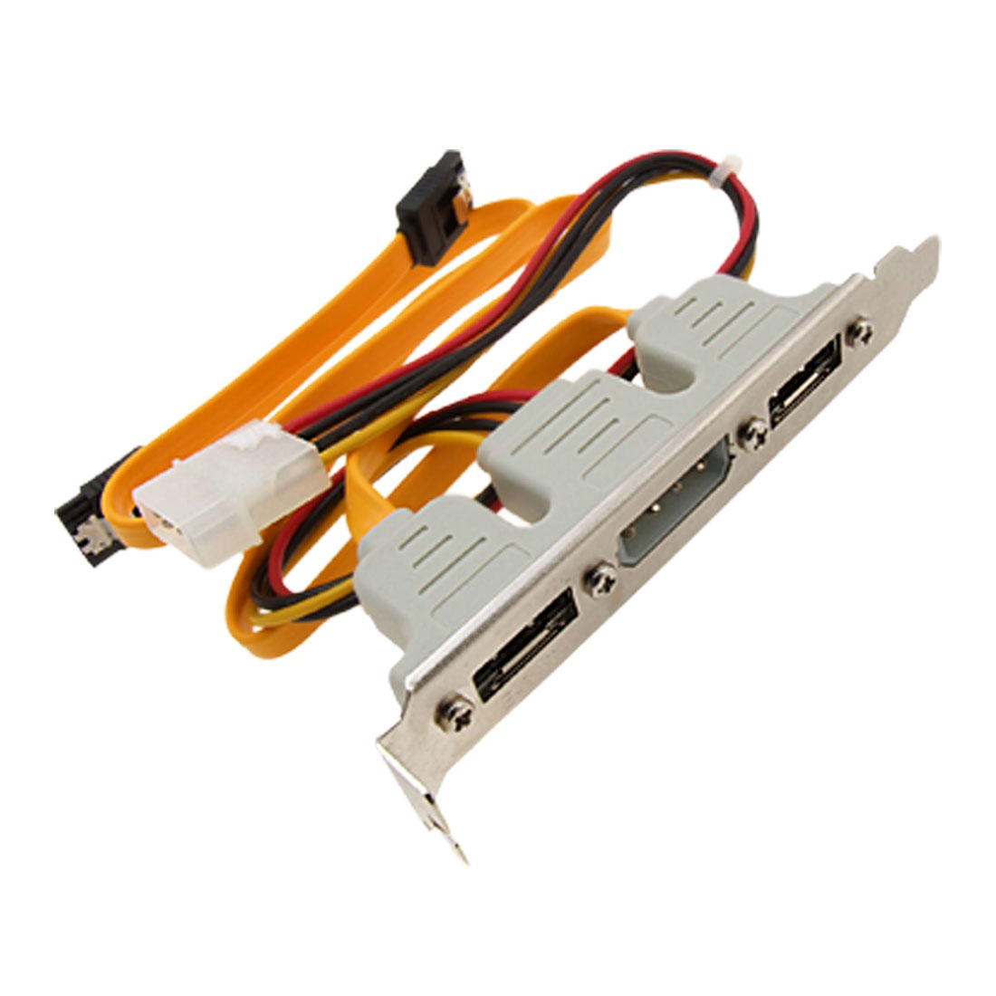 New 2 Port eSATA+Power SATA Cable+4 pin Power Bracket Slot