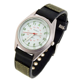 Fashionable Sport Wristwatches with Nylon Plated Rubber Band
